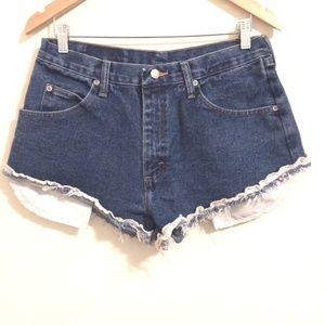 Wrangler Shorts High Waisted Cut Off Lace Fray 32